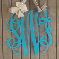 Monogram Door hanger,  Custom Door Wreath, Personalized Hanger, Metal Letters, Nursery, Initial Decor, Metal, Wedding Guest Book, Wall Decor