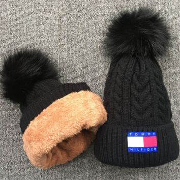Tommy hilfiger Women Men Embroidery Beanies Knit Hat Warm Woolen Hat Black