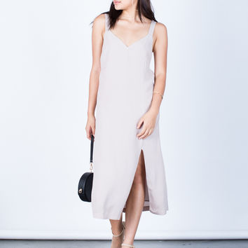 Woven Front Slit Midi Dress
