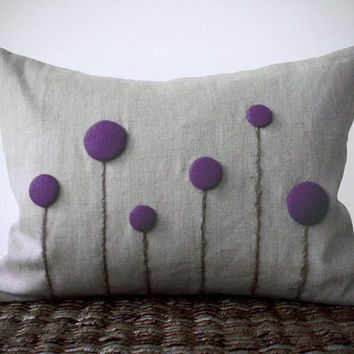 Purple Billy Ball Flower Pillow Cover in Natural Linen by JillianReneDecor Craspedia Billy Button Botanical Home Decor Spring Decor
