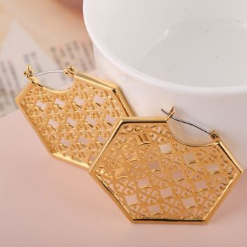Tory Burch New fashion personality hollow polygon earring accessories Golden