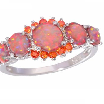 Opal Orange Garnet Silver Plated Ring