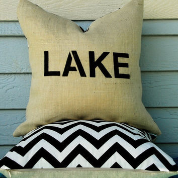 "Decorative Pillow Cover 20"" x 20"" Lake House SET- burlap with black and white chevron modern print"