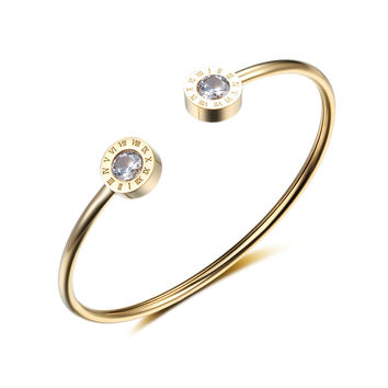 Charms Stainless Steel Bracelets & Bangles Roman Numerals Gold Color Round Shape Cuff Bracelets For Women Jewelry (BA101841)