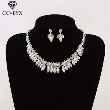 CC bridal jewelry sets for women stud earrings necklace luxury engagement wedding accessories party shine double design TL2017