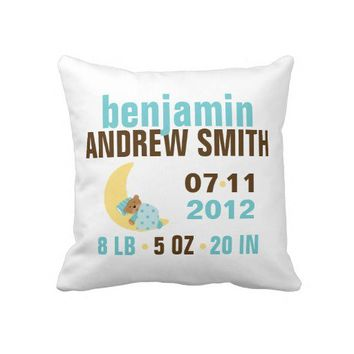Sweet Dreams Baby Bear Birth Announcement {blue} Throw Pillows from Zazzle.com