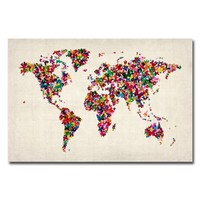 Trademark Fine Art Butterflies World Map by Michael Tompsett Canvas Wall Art, 22x32-Inch