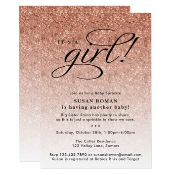 It's a Girl Rose Gold Ombre Glitter Baby Sprinkle Card