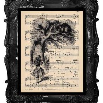 FREE SHIPPING WORLDWIDE Alice Meets the Cat Print by BlackBaroque