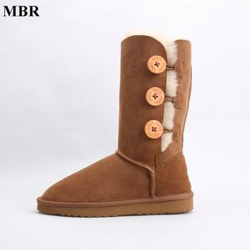 MBR sheepskin leather suede winter snow boots for women real sheep fur wool lined wint