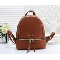 Michael Kors MK Classic Fashion Women Leather Casual Double Shoulder School Bag Backpack Brown