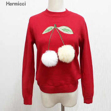 Women Christmas Long Knitted Sweaters And Pullovers Homme Tricot 2017 Plush Fur Ball Cherry Wool Sweaters Woman Runway