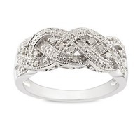 Sterling Silver Accent Diamond Ring (0.12 Cttw, H-I Color, I3 Clarity)