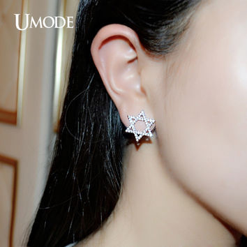 UMODE Vintage Full Paved Star of David Stud Earring Cubic Zirconia White Gold Color Aretes Classical Design Jewelry Hot UE0162