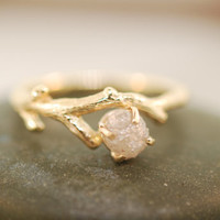 Rough Diamond Gold Bud Branch,twig ring,engagement ring,stone twig ring,branch ring