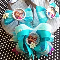 Frozen Elsa and Anna Aqua hairbow and sandal set