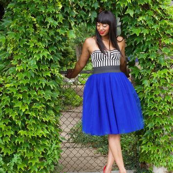 Tutu Cute Skirt - Mid-Length  (Cobalt Blue & Other Colors Tulle Skirt with Elastic Waistband)