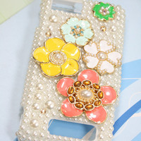 Handmade Charms  Flowers Rhinestone Pearl Crystal Bling Phone Case For Motorola Droid X MB810/Verizon Droid X2 X 2 II MB870