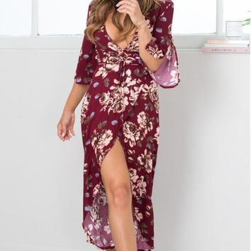 Red Wine V-Neck Sleeve with Slit Midi Dress