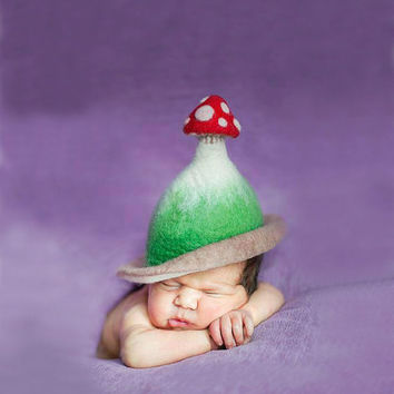 Unique handmade felt hats - for babies - Tiny Dreamer Muscaria