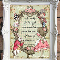 ALICE in WONDERLAND Print Alice in Wonderland Decor Vintage Alice in Wonderland Decorations Alice in Wonderland Party Mad Hatter Tea C:A42