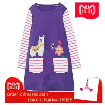 Christmas Dress 2018 Girls Clothes Kids Dresses for Girls Jersey Princess Dress with Animal Appliqued Unicorn Kids Clothing