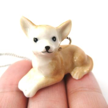Chihuahua Baby Puppy Dog Porcelain Ceramic Animal Pendant Necklace | Handmade