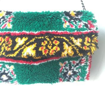 Gucci Style Red, Green & Yellow Kilim Rug Bag - Vintage  -  Cross Body Bag / Chain Shoulder Strap