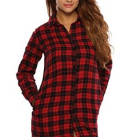 Black Red Plaid Long Sleeves Shirt Dress