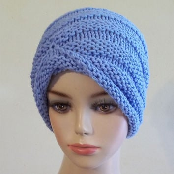 Knit Turban Hat Cotton Women Blue