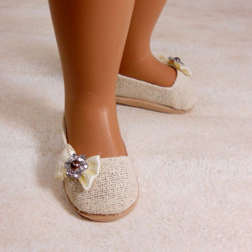 "Sasha Doll Shoes Cream Ivory Slip On, Ballet Flats fit 16"" 17"" Sasha dolls"