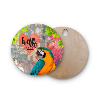 "AlyZen Moonshadow ""Hello Love Parrot"" Multicolor Teal Digital Round Wooden Cutting Board"