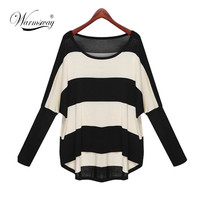 M-3XL Plus Size Spring Autumn Batwing Sleeve Striped Knitted Pullover Sweater Women Loose jumper poncho sudaderas WS-035