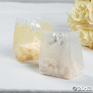 Frosted Gold Wedding Favor Plastic Vellum Bags 48 Pack