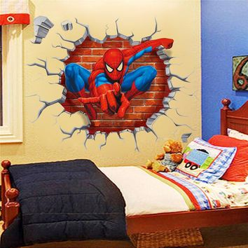 3D Spiderman through the wall stickers home decoration zooyoo1454 adesivo de paredes kids room decal movie cartoon mural art 4.0