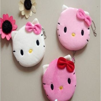 1Pcs Coin Purse & Wallet Pouch Lady's Purses Plush Hello Kitty Kids Girl's Storage Bag Case Handbag Women bow mini pink wallets