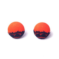 """Handmade Special Edition """"Lovely Lace"""" in Orange with Black Lace Edge Autumn Halloween Fall Vintage Inspired button earrings 3/4"""""""