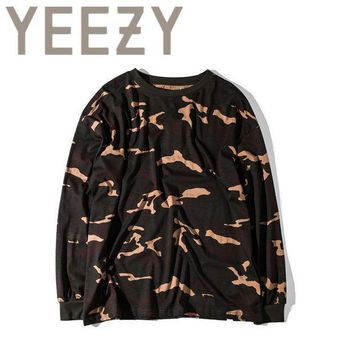 Kanye West Yeezy Camouflage T Shirt 1:1 High Quality Season 1 Summer Justin Bieber Clothes  Military Army Camo Yeezus T Shirts