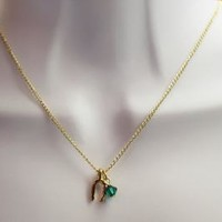 Gold Wishbone Charm on Gold Filled chain and Optional Birthstone