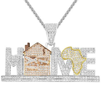 Silver Men's Home Trap Africa Map IcedOut Custom Pendant Chain