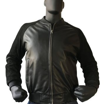 Leather Varsity Bomber Baseball Jacket With Suede Sleeves Style #1055 MENS
