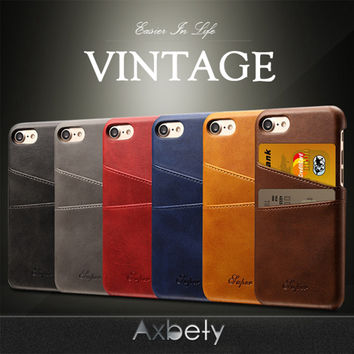 AXBETY Functional Leather Back Case For iPhone 7 Case Vintage Matte Leather Cover Case For iPhone 6 Back Card Holder Cover