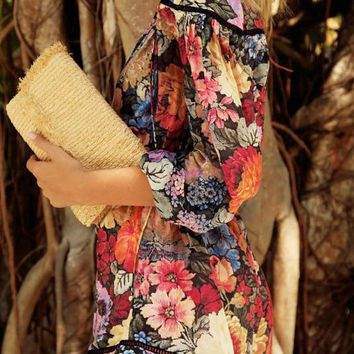 A  Chicloth Multicolor Floral Casual Printed Plunging neck Romper
