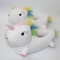 2017 New Winter Cute Unicorn Soft plush Slippers Shoes Women Home ,House ,indoor.Floor Slippers Chausson Licorne For Bedroom
