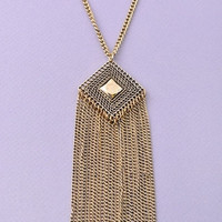 Ultra Long Diamond Pendant Tassel Necklace - Antiqued Gold or Antiqued Silver
