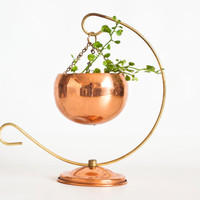 Vintage Solid Copper Hanging Planter, Mini Copper Bowl with Holder, Ball Planter, Succulent Cactus Pot, Coppercraft Guild, Taunton Mass.