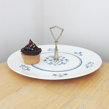 Vintage Sheffield Provincial handled serving plate - Homer Laughlin white and blue serving platter with brass handle - Cupcake tray