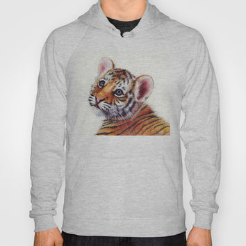 Tiger Cub Watercolor Painting Hoody by Olechka