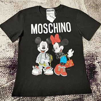 MOSCHINO New Fashionable Women Men Mickey Mouse Print T-Shirt Top Black