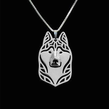 siberian husky jewelry - solid 14k white gold pendant and necklace.